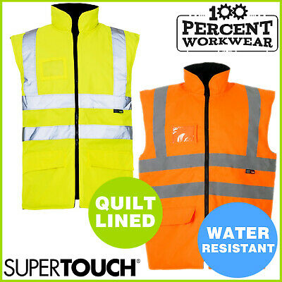 Supertouch High Visibility Yellow Reversible Fleece Lined Bodywarmer Gilet Work
