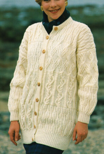 "42/"" KNITTING PATTERN Cardigan 32/"" Lady/'s Aran Textured Sampler Jacket"