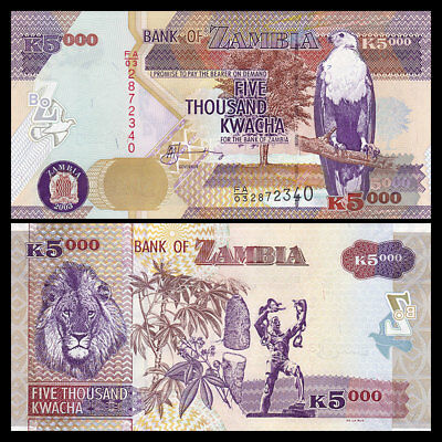 Original 2003 Zambia 5000 Kwacha P-45 Banknotes UNC