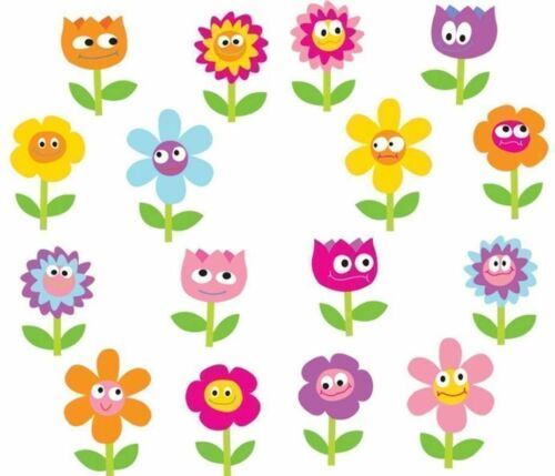 ~ Chubby Colourful Happy Flowers Face Mrs Grossman Stickers ~