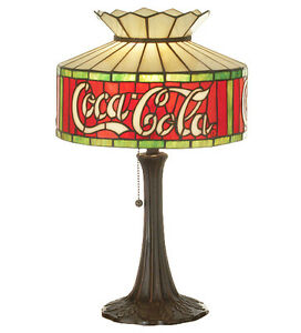 "Coca Cola Coke Table Stain Glass Accent Lamp Stained Glass 20""H"