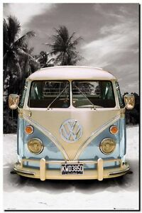 VW COMBI CAMPER POP ART- QUALITY CANVAS ART PRINT- Poster A4