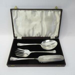 Vintage-F-C-amp-Co-EPNS-Silver-Plated-Three-Piece-Serving-Set-with-Leather-Case