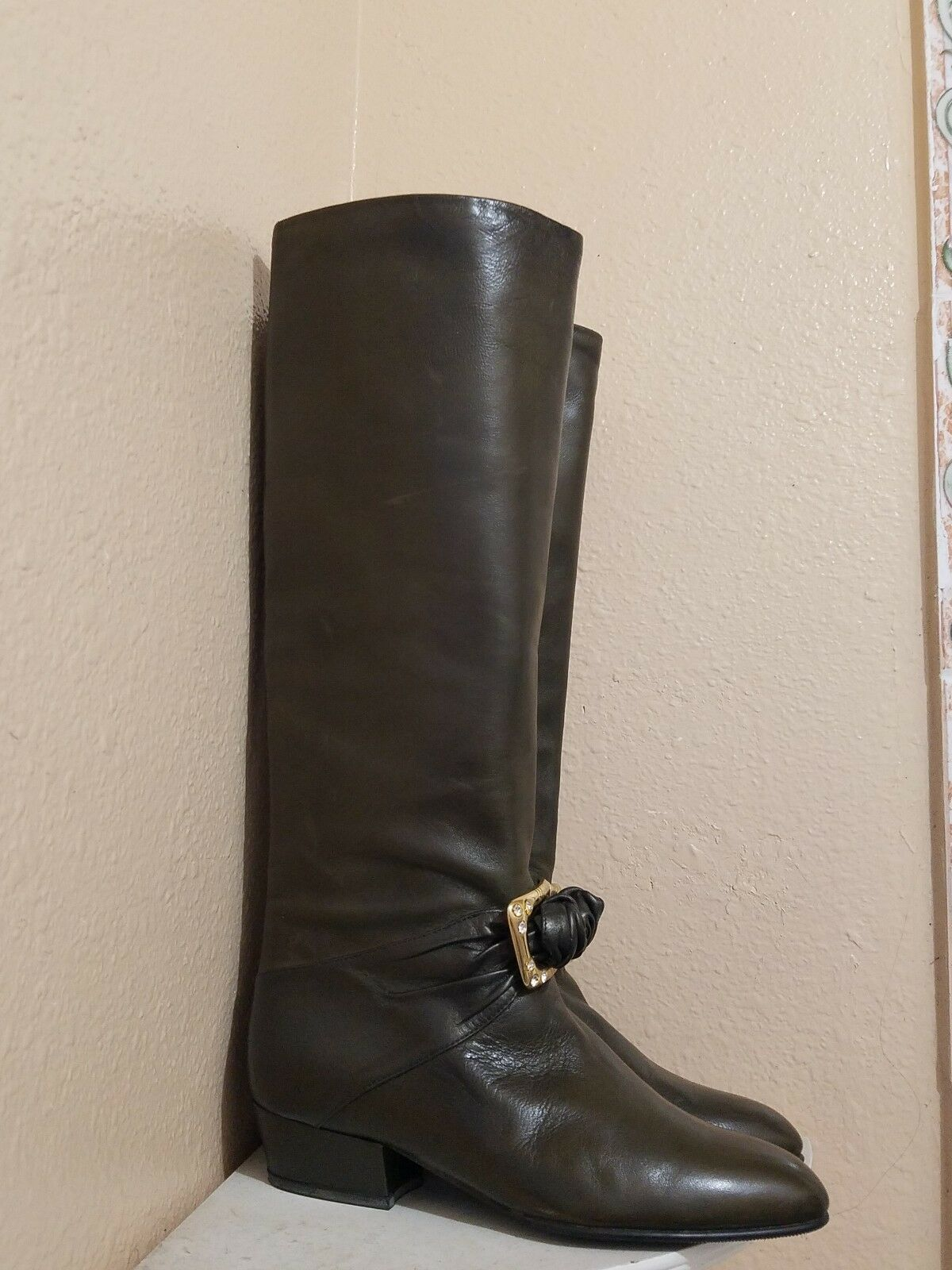 Contempo shoes Size 4.5 US 35.5 35.5 35.5 Knee Leather Boots Superb Handmade Italian Brown e62147