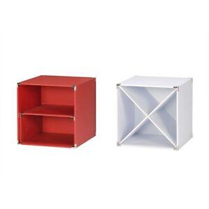 4-Stueck-Checkers-box-Regal-Baukastensystem-Boxen-rot-Sompex-Regalsystem-Regalbox
