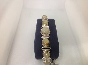 STERLING-SILVER-amp-LIGHT-YELLOW-QUARTZ-CABOCHON-HANDCRAFTED-LADIES-BRACELET