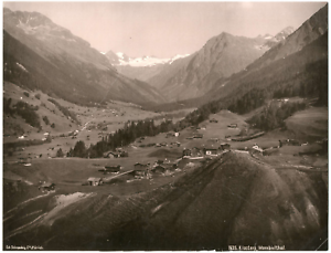 Suisse-Klosters-Mombielthal-vue-panoramique-Vintage-albumen-print-Tirage