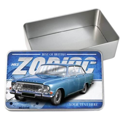 Personalised Ford Zodiac mk3 Car Tin Classic Retro Storage Box Dad Gift CL19