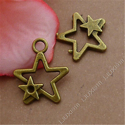 20pc Double Five-Pointed Star Pendant Charms Dangle Accessories Jewellery S343T