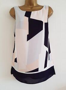 NEW-Ex-Wallis-8-20-Colour-Block-Navy-Black-White-PinkMonochrome-Tunic-Top-Blouse