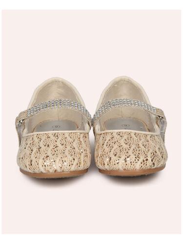 New Girl Little Angel Britt-957E Glitter Lace Rhinestone Mary Jane Ballet Flat