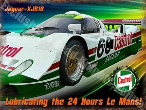 Motor Racing, Castrol Jaguar-XJR10 Le Mans, Garage Race Car Small Metal Tin Sign