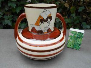 Ancien vase boule à 2 anses à décor de bretonne et breton signé HB QUIMPER Q7ZFLhmO-09105657-917708503