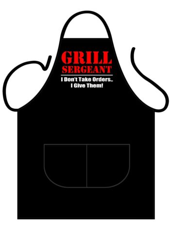GRILL SERGEANT BBQ ICONIC APRONS,MENS//WOMENS,BLACK PRINTED NOVELTY APRON