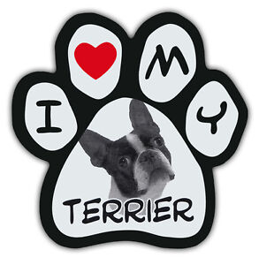 Picture-Paws-Dog-Paw-Shaped-Magnets-I-LOVE-MY-TERRIER-BOSTON-Car-Magnet