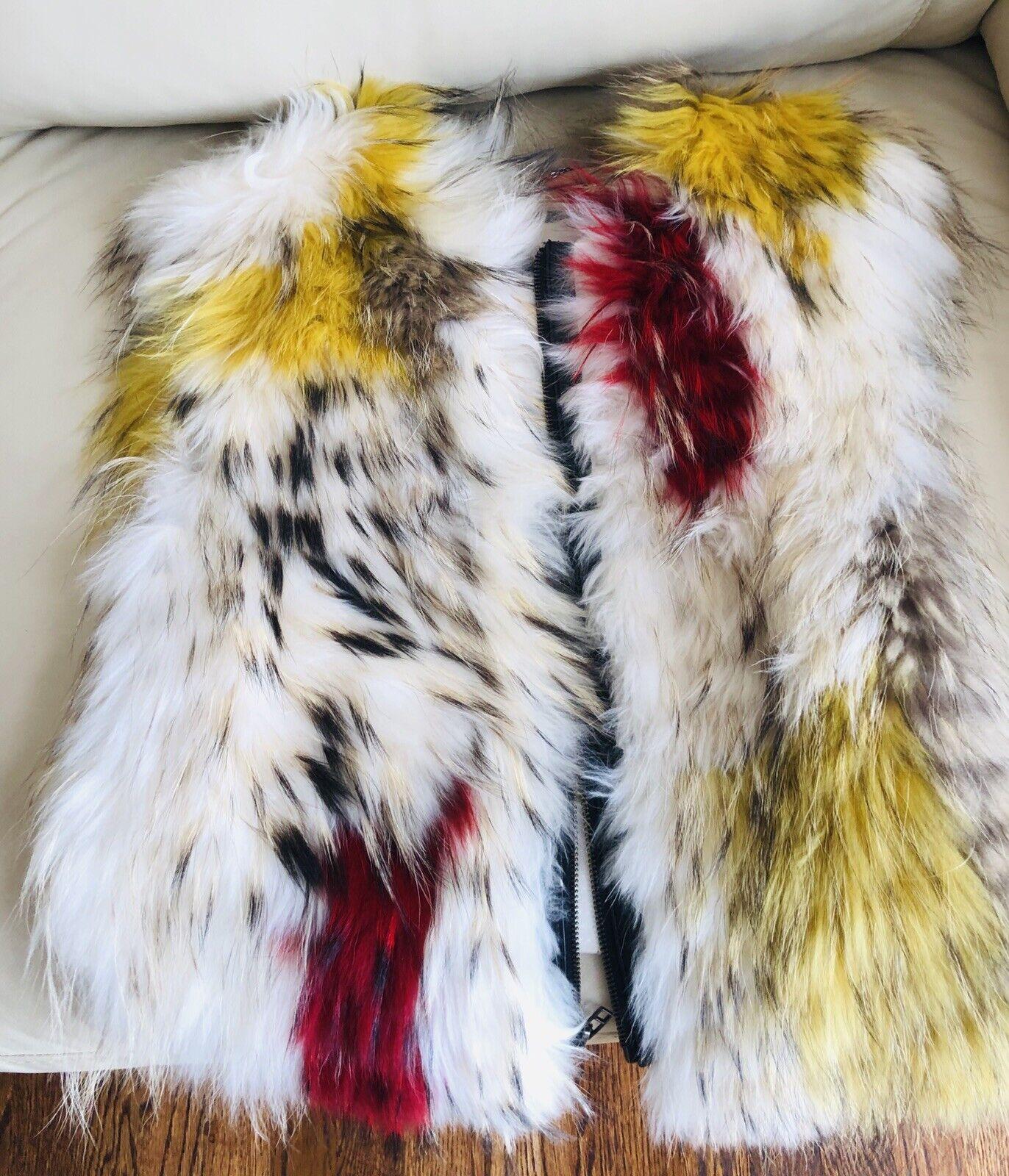 BBG Max Azria springaway Asiatiska Raccoon Fur Vest kvinnor små  Medium