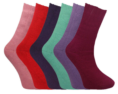 Ladies Brushed Thermal Socks Lot 2 TOG Thick Warm Insulated Winter Sock Size 4-7
