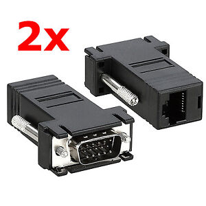 Details about 2x VGA Male to Network Adaptor Extend Video over Network  Cat5e Ethernet RJ45 VGA