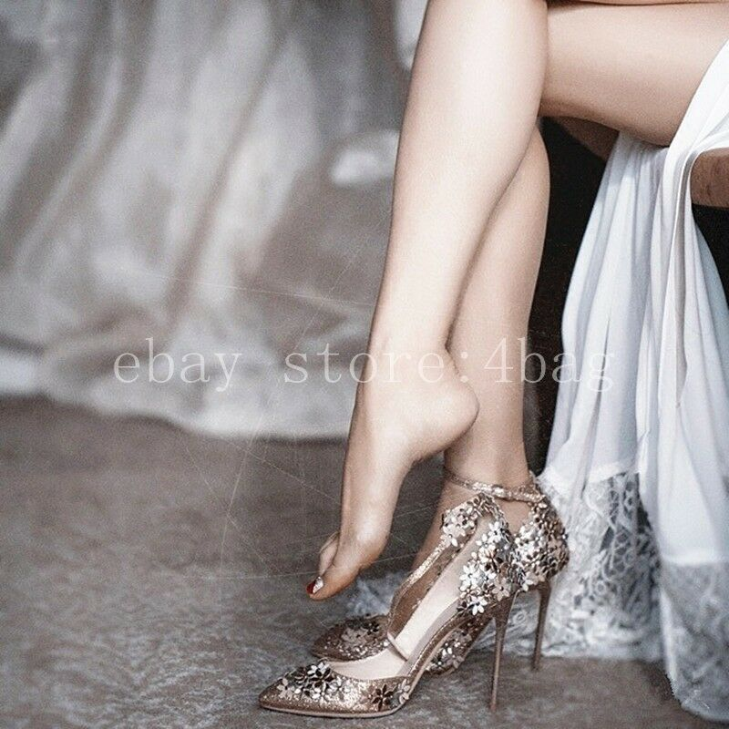 Pointed sequins wedding chaussures high heels girl Ankle Strap Mary Janes Pumps SZ