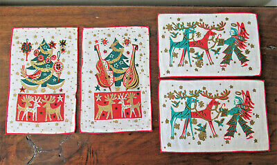 Gold Metallic Print Unused Mid Century Barware Lewis Garland 4 Christmas Cocktail Napkins Red and Green