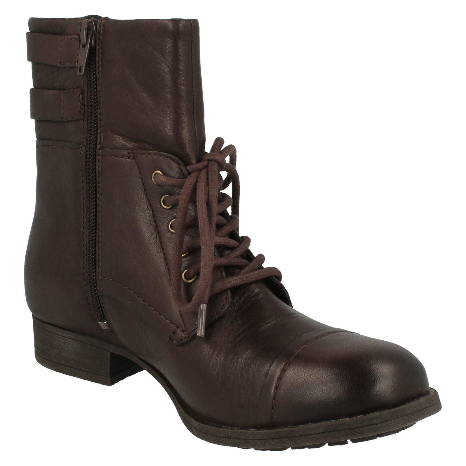 Juego De Damas Clarks Cremallera imitar Militar Militar Militar De Cuero Informal botas al tobillo con todos los días 8fa6dd