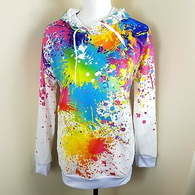 NEW Men Fleece Sweater Hoodie You Suck @ Life Print Sizes S-XL Paint Splatter