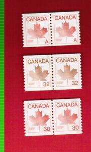 1981-to-1983-THREE-PAIRS-908-950-951-OF-COIL-CANADA-STAMPS-MINT