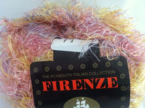 Plymouth Firenze #449 Peach Pink Lilac Eyelash Yarn Wool Nylon Acr 50gr
