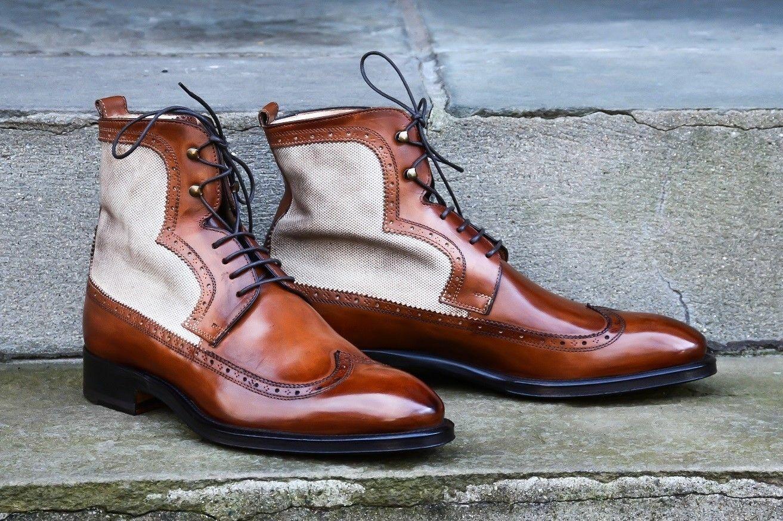 Cousue main Hommes Lacets Souliers Brogues De Bout D'Aile Designer Bottes en cuir, marron classique
