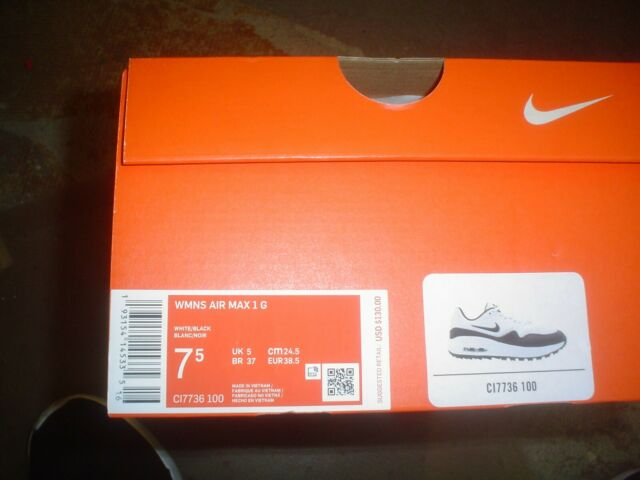 Women's Nike Air Max 1 G White Black Spikeless Golf Shoes CI7736-100 CHOOSE SIZE