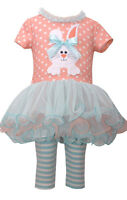 Bonnie Jean Baby Girls Bunny Holiday Easter Multi Dress 2 Pc Set 0 3 6 9 Months