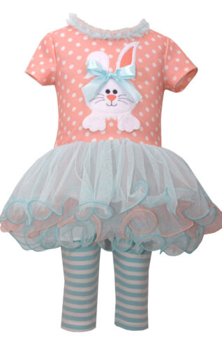 Bonnie Jean Baby Girls Bunny Holiday Easter Multi Dress 2 pc Set 12 18 24 Months