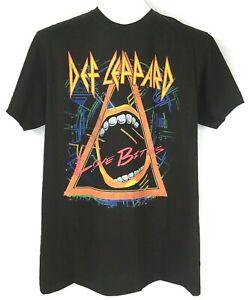 DEF-LEPPARD-Black-Neon-Concert-T-Shirt-LOVE-BITES-Adult-Mens-Medium-New