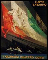 Lloyd Sabaudo Ocean Liner Transatlantic Ships Italian 8x10 Poster Repro Free S/h