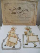 23958 11 Tischkarten reizende Kinderfiguren in Rococo-Costümen 1880 place cards