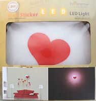 Diy 3d Heart Removable Wallpaper Wall Sticker Led Lamp Light With Switch Control