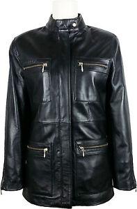 UNICORN-Womens-Classic-Mid-Length-Coat-Real-Leather-Jacket-Black-5U