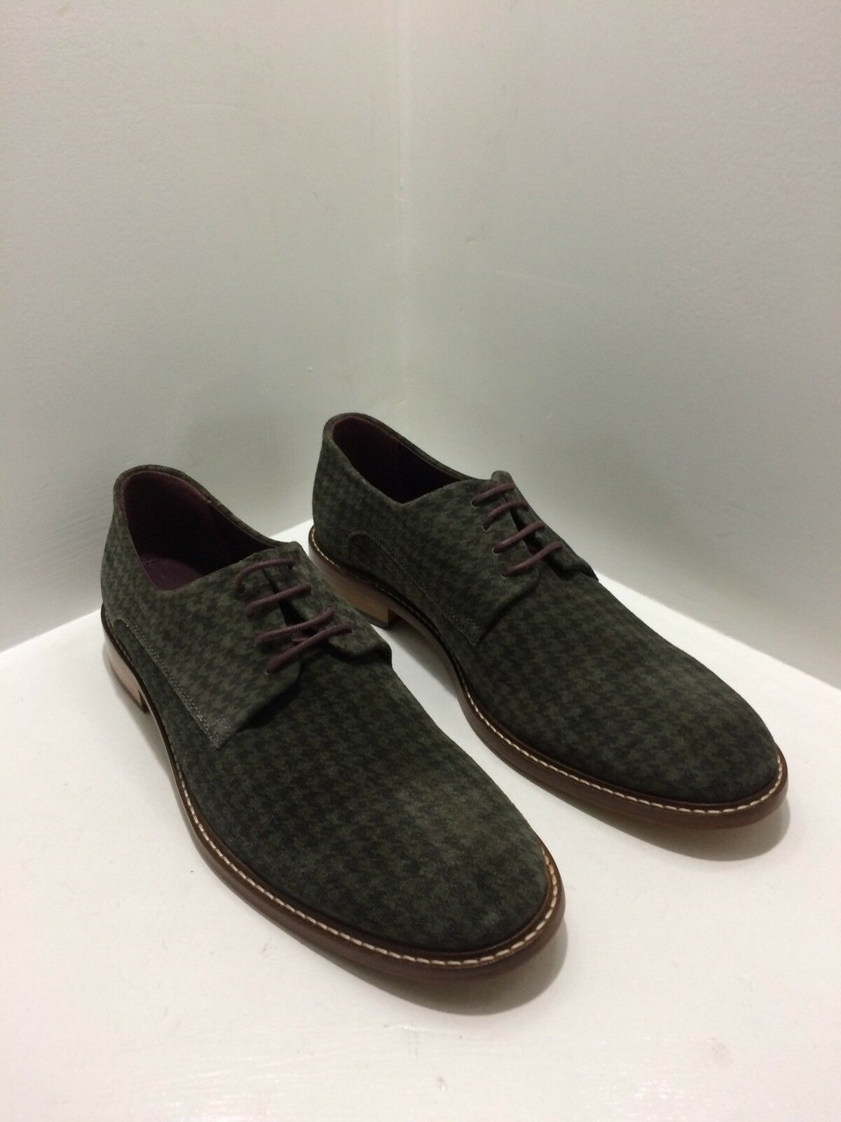 TED BAKER ETTER 2 Uomo's Green Lace Up Houndstooth Suede Oxford Shoes Size US 8