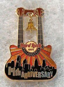 HARD ROCK CAFE PHILADELPHIA 14TH ANNIVERSARY DOUBLENECK GUITAR PIN # 64750