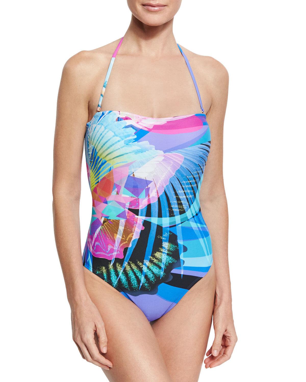 NEW La whitea Monarch Movement Bandeau One-Piece Swimsuit LB71J10 size 10