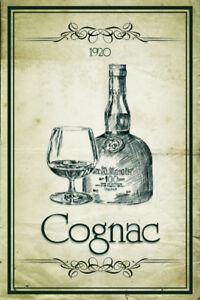 Cognac-1920-Blechschild-Schild-Blech-Metall-Metal-Tin-Sign-20-x-30-cm