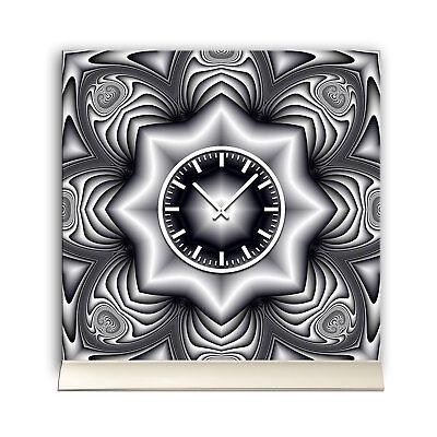 Liefern Tischuhr 30cmx30cm Inkl. Alu-ständer -abstraktes Design Cyber Stern Grau Geräusc Noch Nicht VulgäR