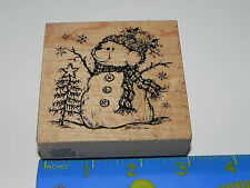 PSX Rubber Stamp G-2044 Snowman Bear with Hat Pine Tree Star Snowflakes CUTE