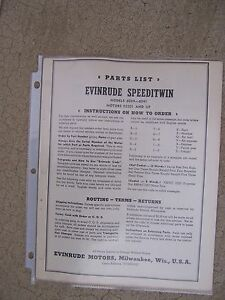 1941 Evinrude Speeditwin 6039 6041 Outboard Motor Parts List More In Our Store S Ebay