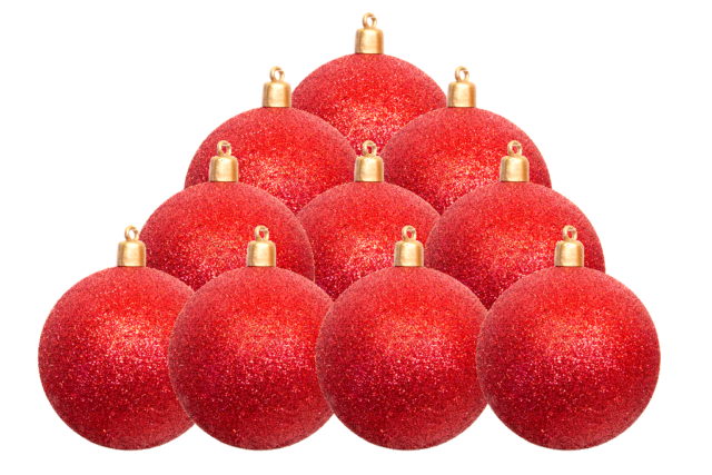 Christmas Ball Ornaments.Red Glitter Christmas Ball Ornaments Tree Hanging Plastic Holiday 3 Set Of 12