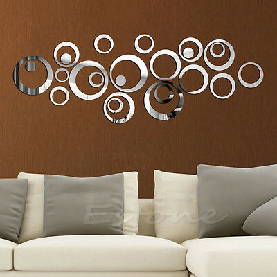 New Circles Mirror Style Removable Decal Vinyl Mural Art Wall Sticker Home Decor