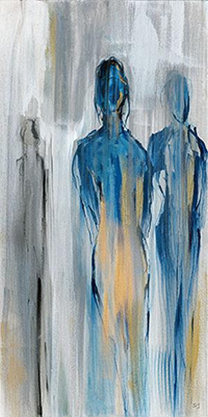 Susan Jill  Just a Memory II Keilrahmen-Bild Leinwand Paar Figuren abstrakt blau