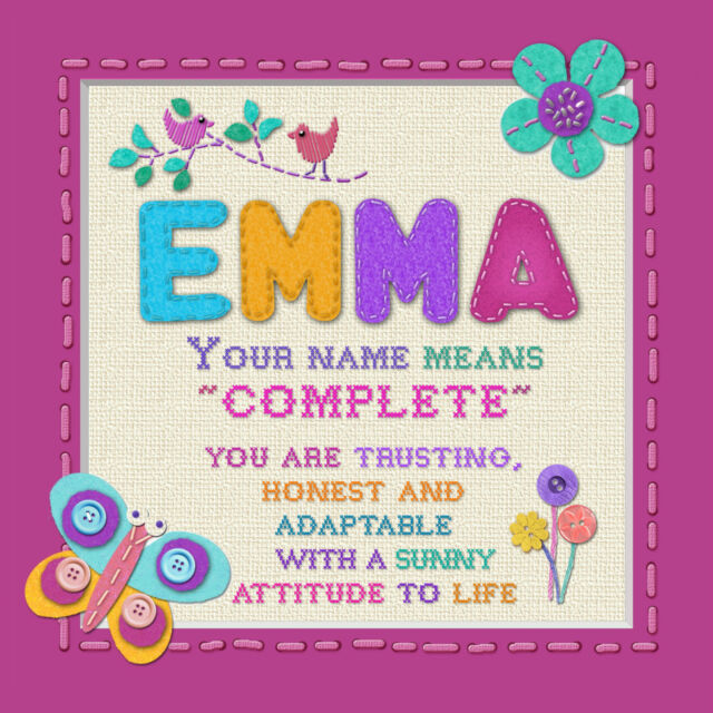 Personalised Art Print Boys Girls Names Framed With Meaning 18x18cm ...