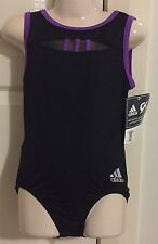 **NEW** GK Adidas gymnastics leotard black & purple CL child large NWT ADIDAS