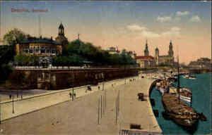 DRESDEN Sachsen Postkarte ~1910 Partie an der Elbe, Stadt-Panorama, Belvedere